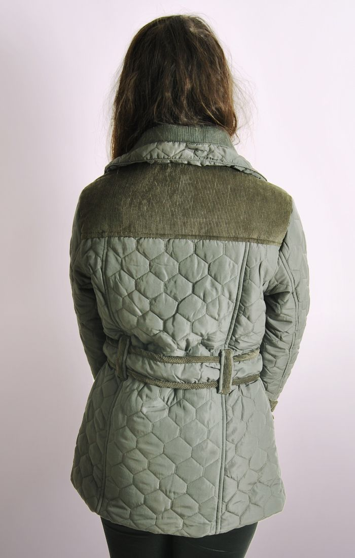 Ladies Diamond Quilted Jacket With Cord Embellishment